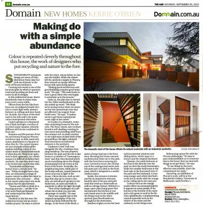 THE AGE DOMAIN 25 Sep 2010 Making Do with a Simple Abundance PHOOEY Architecture Ashburton House