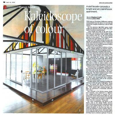 SYDNEY MORNING HERALD Essential 16 April 2009 DREAM HOME PHOOEY Architects Kaleidoscope of Colour