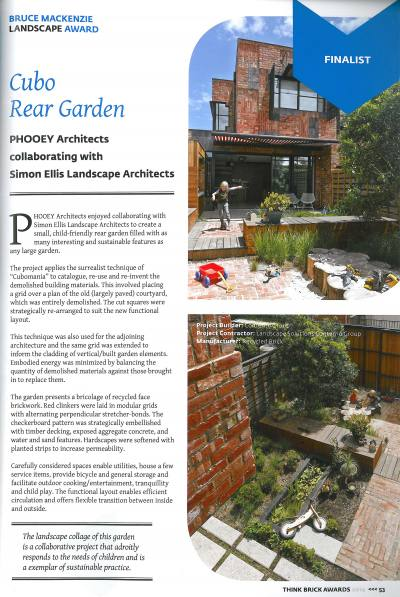 THINK BRICK AWARDS 2014 - PHOOEY Architects in collaboration with Simon Ellis Landscape Architects - Cubo Rear Garden
